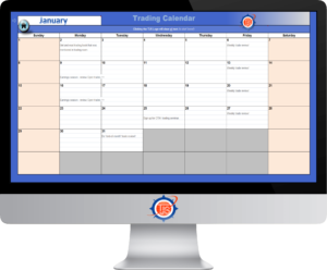 Image of the TJS Elite Trading Calendar shown on a desktop monitor