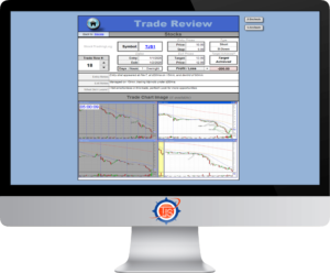 Image of the TJS Elite Trade Review sheet displayed on a screen monitor